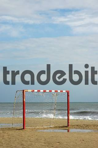 soccer goal on the beach, Altea, Costa Blanca, Spain