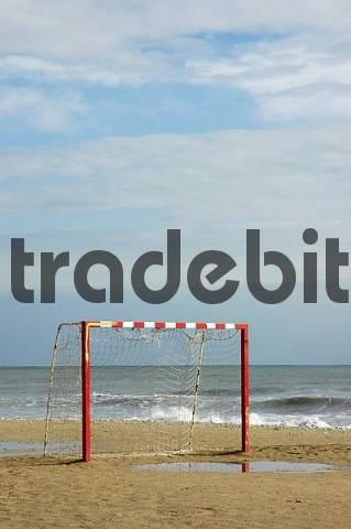 soccer goal on the beach, Altea, Costa Blanca, Spain