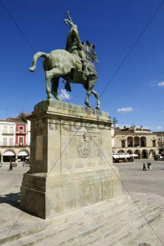 Equestrian statue of Francisco Pizarro, conqueror of Peru, Trujillo, Extremadura, Spain, Europe