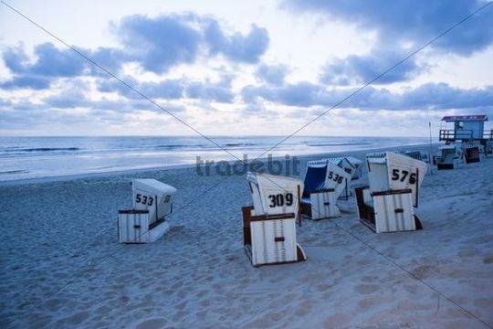 Roofed wicker beach chairs, Sansibar, Sylt Island, North Frisian Islands, Germany, Europe