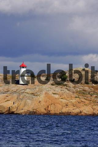 little lighthouse at the swedish Baltic Sea coast with granite rocks - Bohuslaen, West coast, Baltic Sea coast, Sweden,