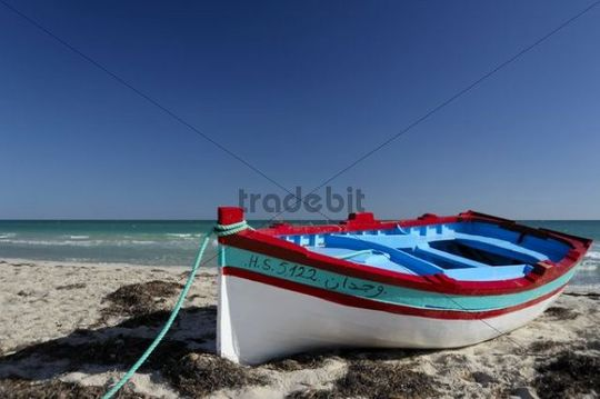 Fishing boat on the beach, Djerba island, Tunisia, Maghreb, North Africa, Africa
