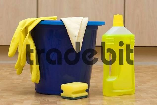 bucket with detergents