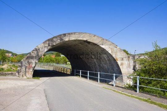 Concrete bridge of unfinished road in Ludkovice, Zlin district, Zlin region, Czech Republic, Europe