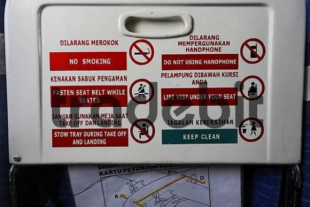 indicating label in plane, Kalimantan, Borneo, Indonesia