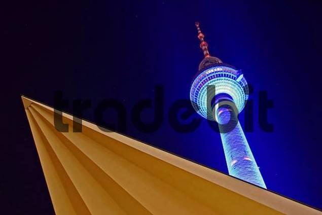 Festival of Lights 2005, illuminated TV Tower, Alexanderplatz, Mitte, Berlin, Germany