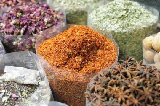 Star anise, dried marigolds, Spice Souk, Dubai, United Arab Emirates, Arabia, Middle East, Orient