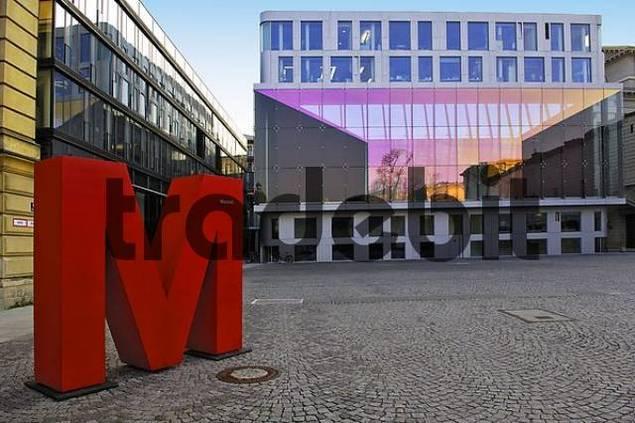 Marstallplatz, red letter M, Munich, Bavaria, Germany