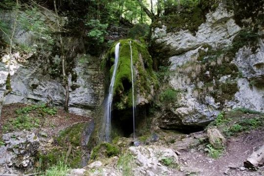 Tannegger Waterfall with its bizarre tufa formation in the Wutach Gorge Nature Reserve, Black Forest, Baden-Wuerttemberg, Germany, Europe