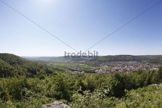 Panoramic views from Mt Kreuzberg, Schluesselstein, across Ebermannstadt, market town of Wiesenttal area, Franconian Switzerland, Upper Franconia, Franconia, Bavaria, Germany, Europe