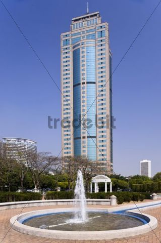 Fountain in front of high-rise building, Shenzhen, China, Asia
