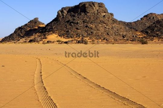 Tyre tracks in the desert sand, Sahara, Libya, North Africa, Africa