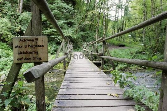 A not very sustainable wood bridge in the Gauchachschlucht gorge, a side gorge of the Wutachschlucht nature reserve, Black Forest mountain range, Baden-Wuerttemberg, Germany, Europe