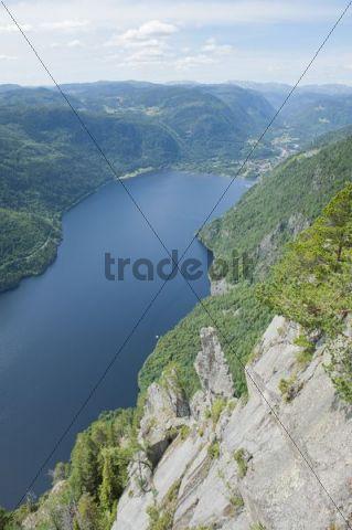 Aerial view onto fjord-like Lake Bandak, Lårdalstigen near Dalen, Lardalstigen, Telemark, Norway, Scandinavia, Northern Europe, Europe