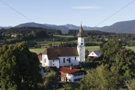 Town view with parish church of St. George, Bad Bayersoien, Pfaffenwinkel, Upper Bavaria, Bavaria, Germany, Europe, PublicGround