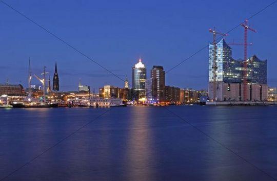 Night view, port of Hamburg, Kehrwiederspitze and ElbphilharmoniePhilharmonic Hall, Hafencity district, Hamburg, Germany, Europe