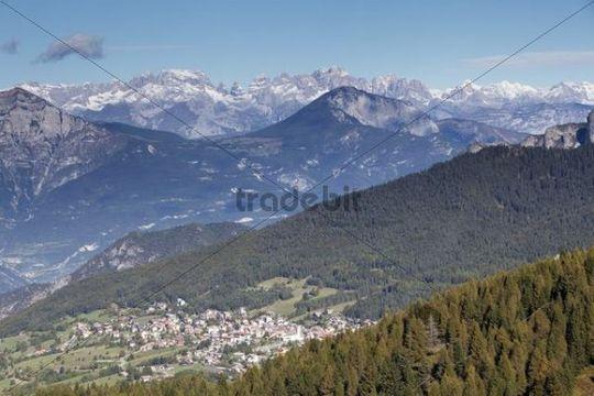 View towards Sette Comuni with Brenta and Adamello mountains, Folgaria, Trentino, Italy, Europe