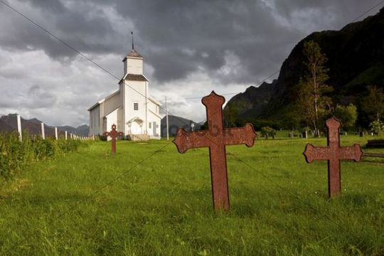 Church and cemetery of Gomsoy on the Lofoten Islands, Norway, Scandinavia, Europe, PublicGround