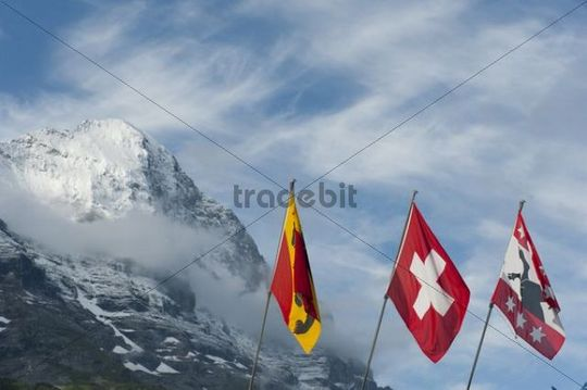 Flags in front of the snow-covered Eiger Mountain, 3970 m, north wall, the Alps, Grindelwald, Bernese Oberland, Canton of Bern, Switzerland, Europe