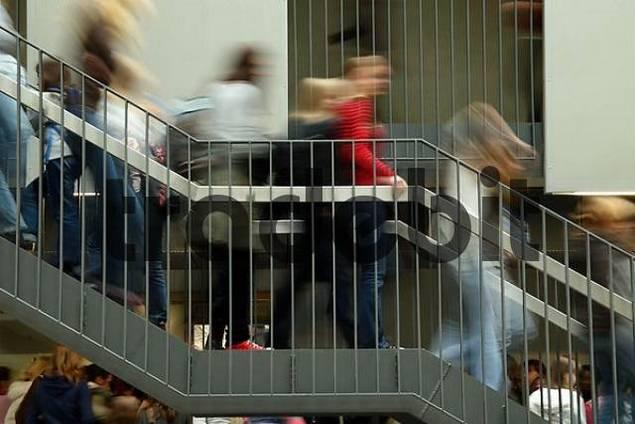 Children climbing stairs, blurred