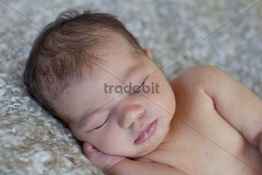 Newborn baby, five days, asleep
