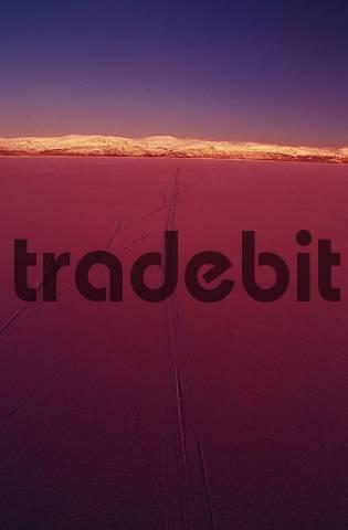 Midwinter Night at Lake Tornetraesk near Abisko, Sweden, swedish lappland