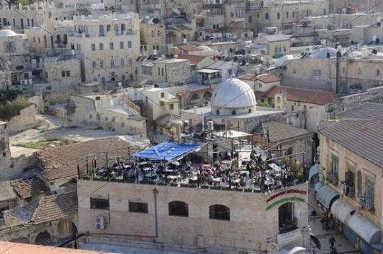 Rooftop café, Golden City, Christian Quarter, Old City of Jerusalem, Israel, Middle East