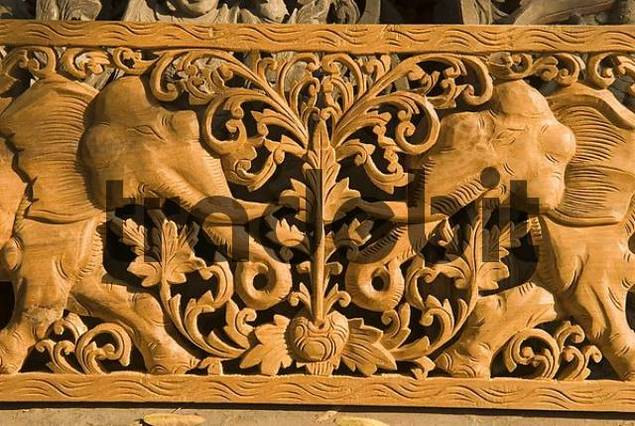 Teak Wood Carving Mandalay Myanmar Download Abstract