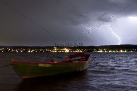Thunderstorm over Allensbach on Lake Constance, Konstanz district, Baden-Wuerttemberg, Germany, Europe, PublicGround