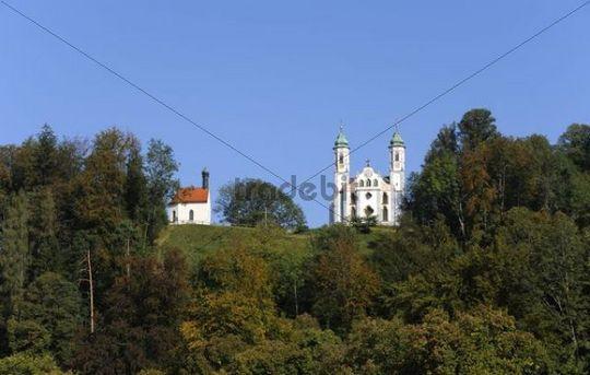 Leonard Chapel and the Church of the Holy Cross, Calvary Hill, Bad Toelz, Upper Bavaria, Bavaria, Germany, Europe, PublicGround
