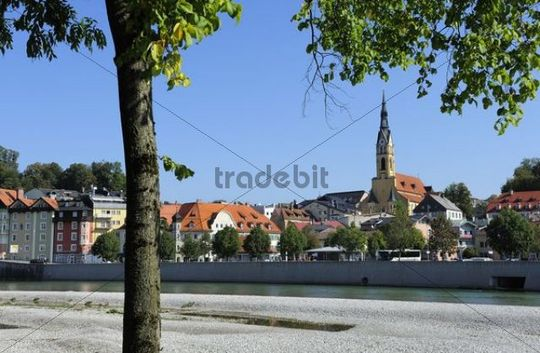 Bad Toelz with the Parish Church of the Assumption across the Isar River, Upper Bavaria, Bavaria, Germany, Europe, PublicGround