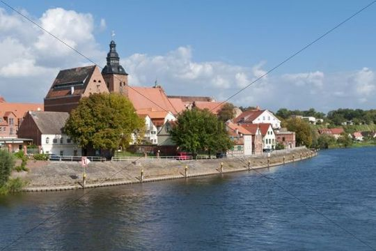 Elbe Cycle Route, historic town centre of Havelberg, Havel River just before it joins the Elbe River, Elbe Cycle Route, Saxony-Anhalt, Germany, Europe