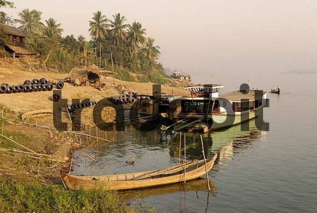 ship on the shore of Irrawaddy river, Myanmar