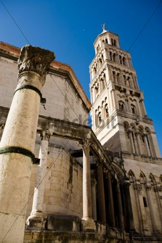 Bell tower of Split Cathedral or Cathedral of St. Duje, Split, Croatia, Europe