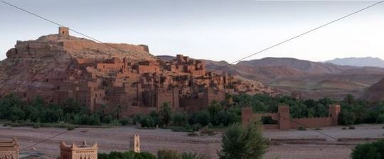 Panorama of the Kasbah Ait Benhaddou at dawn, UNESCO World Heritage Site, Ait Benhaddou, Morocco, North Africa, Africa