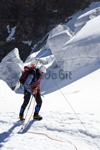 Mountaineer climbing Piz Palue mountain, glacial landscape, canton of Graubuenden, Grisons, Switzerland, Europe