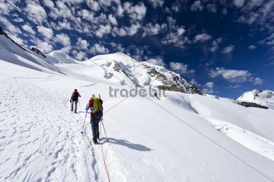 Mountaineers climbing Piz Palue mountain, glacial landscape, the summit of Piz Palue mountain at the back, Piz Bernina mountain with Biancograt ridge on the right, canton of Graubuenden, Grisons,
