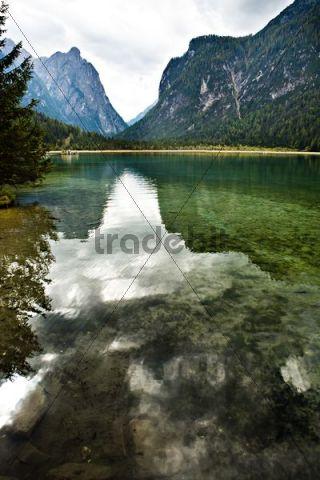 Lago di Dobiacco lake, Dolomite Alps, Italy, Europe
