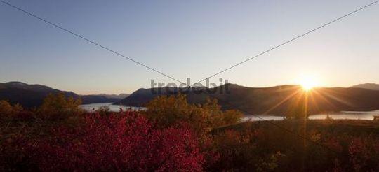 Sunset over Fish Lake, Indian summer, fall, autumn, Yukon Territory, Canada