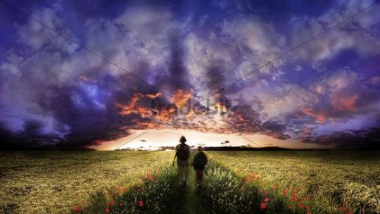 Woman and child walking on a path flanked by poppy flowers through the middle of a corn field, sunset with a cloudy sky, Adelschlag, Bavaria, Germany, Europe