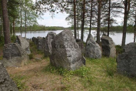 Stone tank traps from the Second World War, near Kuhmo, Finland, Europe
