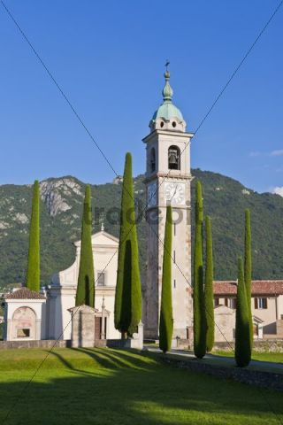 Church of Sant Abbondio, cypress-lined road, in Gentilino, Ticino, Switzerland, Europe