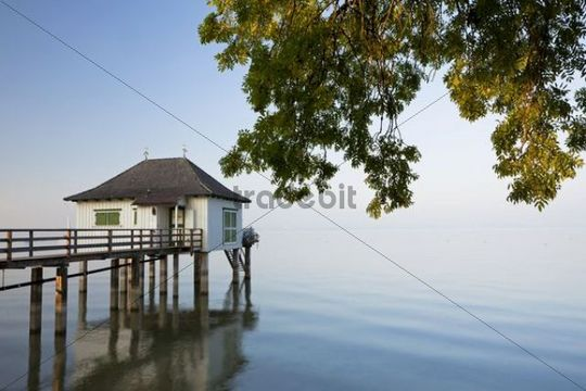 Bath house in the last evening light with gentle autumn fog near Kesswil on Lake Constance, Switzerland, Europe, PublicGround