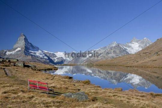 Morning mood at Lake Stellisee looking towards the Matterhorn, Zermatt, Valais, Swiss Alps, Switzerland, Europe, PublicGround