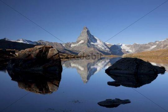 Morning mood with the Matterhorn reflected in Lake Stellisee, Zermatt, Valais, Swiss Alps, Switzerland, Europe, PublicGround