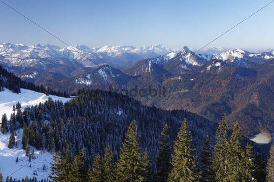 View from Mt Wallberg towards southwest, with mountains Rossstein and Buchstein at back and Mt Zugspitze behind, Upper Bavaria, Germany, Europe, PublicGround