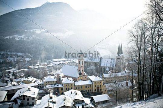 Berchtesgaden and Berchtesgadener Land in winter, Alps, Bavaria, Germany, Europe