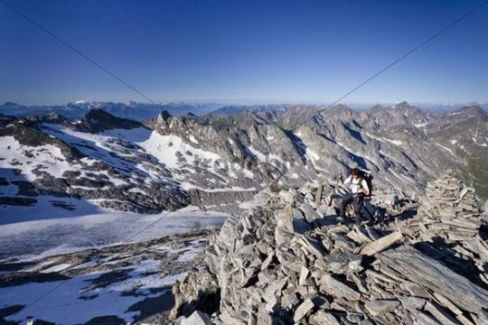 View during ascent of Mt Hochfeiler, Pfitschertal valley, Eisacktal valley, Wipptal valley and Mt Marmolata at back, Dolomites, South Tyrol, Italy, Europe