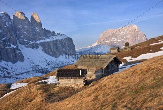 Haylofts at Passo Gardena pass or Groednerjoch, Dolomites, Italy, Europe