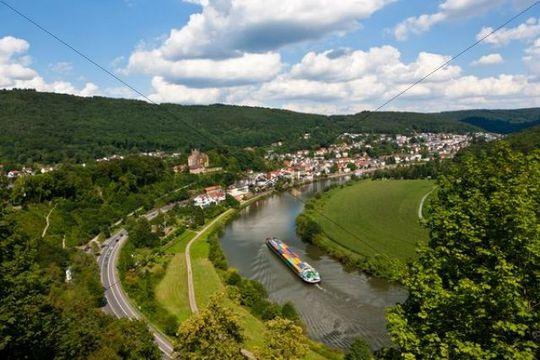 Cargo ship with containers on the Neckar, Neckarsteinach, Mittelburg Castle, Vierburgeneck, Neckartal Nature Park, Neckar River, Odenwald, Hesse, Germany, Europe, PublicGround